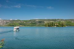 The ferry boat to Visovac Monastery on the island of Visovac, Krka National Park, Dalmatia, Croatia stock image