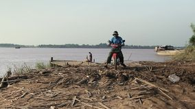 Ferry boat , transport , mekong, cambodia, southea stock video