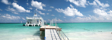 Ferry boat and tropical beach Royalty Free Stock Images