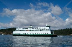 Ferry Boat under Blue, Cloudy Sky stock image