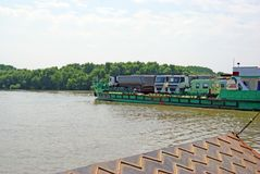 Ferry boat vehicles transport Royalty Free Stock Images