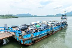 Ferry boat vessel for passengers and cars in Thailand. LANTA, KRABI, THAILAND - 17 OCT 2014: Ferry boat vessel for passengers and cars from mainland to Koh Lanta Stock Image