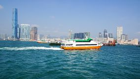 Ferry boat in Victoria Harbor. Stock Photos