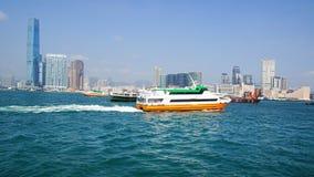 Ferry boat in Victoria Harbor. Stock Photos