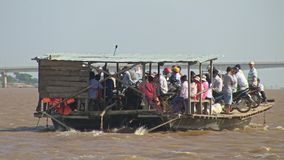 Ferry boat, wind, mekong , cambodia, southeast asia stock footage
