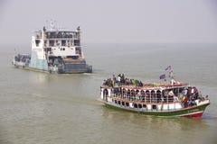 Ferry boats cross Ganga river Bangladesh. Stock Photos
