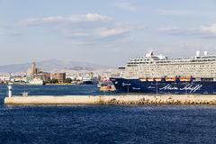 Ferry boats, cruise ships docking at the port of Piraeus, Greece Royalty Free Stock Image