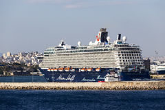 Ferry boats, cruise ships docking at the port of Piraeus, Greece Stock Images