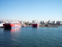 Ferry boats docking at the port of Piraeus/Greece stock photos