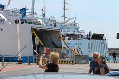 Ferry boats Moby Baby and Moby Love at berth in Piombino seaport Royalty Free Stock Images