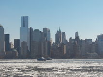 Ferry Boats Moving though Ice Flows along the Hudson River Stock Photos