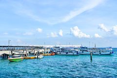 Ferry Boats Near the Pier of Koh Larn Royalty Free Stock Photos