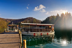 Ferry boats on Plitvice lakes pier. Croatia. Plitvice national park, popular tourist destination Royalty Free Stock Images
