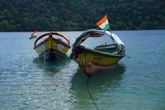 Ferry boats at North Bay Beach, Andaman. Ferry boats at rest toed to anchors at North Bay Beach of Andaman stock photos