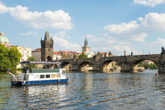 Ferry Boaty on Moldava river - Prague- Czech Republic Royalty Free Stock Photos