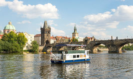 Ferry Boaty on Moldava river - Prague- Czech Republic Stock Image