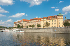 Ferry Boaty on Moldava river - Prague- Czech Republic Royalty Free Stock Images