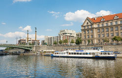 Ferry Boaty on Moldava river - Prague- Czech Republic Stock Images