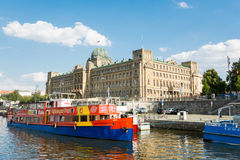 Ferry Boaty on Moldava river - Prague- Czech Republic Royalty Free Stock Image