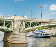 Ferry Boaty on Moldava river - Prague- Czech Republic Royalty Free Stock Photo