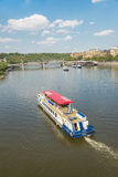 Ferry Boaty on Moldava river - Prague- Czech Republic Stock Photography