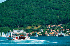 A ferry in the Boka Bay of Kotor in Montenegro, from Lepetane to Stock Image