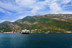 The ferry in Boka Kotorska to a bay Stock Photos