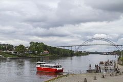 Ferry and bridge over the Glomma Royalty Free Stock Images