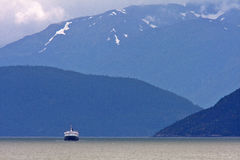 Ferry in British Columbia fjord Stock Images