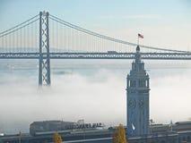 Ferry Building & Bay Bridge Mist Over Stock Photo