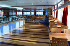 Ferry canteen. A comfortable canteen in the ferry ship royalty free stock photo