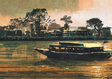 Ferry carries passengers on river. Painting showing ferry carries passengers on river Stock Images