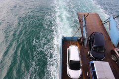 Ferry Carry car vehicles acroos Thai Bay to Koh Chang Island in. Trat, Thailand - July 3, 2017 ; Ferry Carry car vehicles acroos Thai Bay to Koh Chang Island in stock images