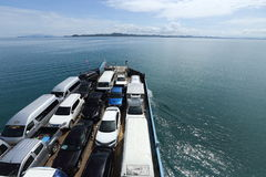 Ferry Carry car vehicles acroos Thai Bay to Koh Chang Island in. Trat, Thailand - July 3, 2017 ; Ferry Carry car vehicles acroos Thai Bay to Koh Chang Island in stock image