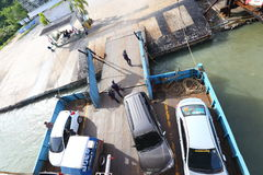 Ferry Carry car vehicles acroos Thai Bay to Koh Chang Island in. Trat, Thailand - July 3, 2017 ; Ferry Carry car vehicles acroos Thai Bay to Koh Chang Island in stock photography