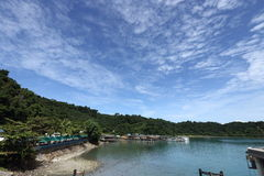 Ferry Carry car vehicles acroos Thai Bay to Koh Chang Island in. Trat, Thailand - July 3, 2017 ; Island view from Ferry Carry car vehicles acroos Thai Bay to Koh royalty free stock image