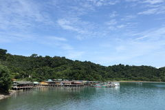 Ferry Carry car vehicles acroos Thai Bay to Koh Chang Island in. Trat, Thailand - July 3, 2017 ; View from Ferry Carry car vehicles acroos Thai Bay to Koh Chang royalty free stock photo