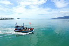 Ferry Carry car vehicles acroos Thai Bay to Koh Chang Island in. Trat, Thailand - July 3, 2017 ; View from Ferry Carry car vehicles acroos Thai Bay to Koh Chang royalty free stock image