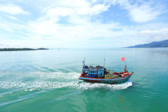 Ferry Carry car vehicles acroos Thai Bay to Koh Chang Island in. Trat, Thailand - July 3, 2017 ; View from Ferry Carry car vehicles acroos Thai Bay to Koh Chang stock photos