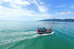 Ferry Carry car vehicles acroos Thai Bay to Koh Chang Island in. Trat, Thailand - July 3, 2017 ; View from Ferry Carry car vehicles acroos Thai Bay to Koh Chang royalty free stock photos