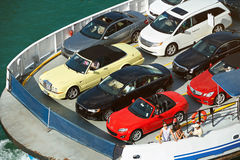 Ferry carry parked cars Stock Images
