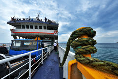 Ferry with cars and passangers in Aegean Sea route to Mount Athos Royalty Free Stock Photography