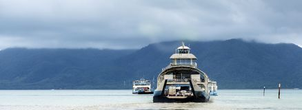Ferry with cars, transfer to the island Stock Image