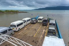 Ferry with cars, transfer to the island Royalty Free Stock Photo