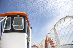 Ferry cockpit with cloud formations in the sky called Altocumulu Royalty Free Stock Photos