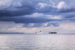 Ferry and container cargo ship on Baltic sea Stock Images