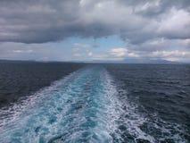 In the ferry,from Corfu. In the ferry from Corfu to Igoumenitsa, Ionian sea Royalty Free Stock Images