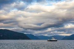 Ferry crosses Sognefjord Vik Sogn og Fjordane Norway Scandinavia royalty free stock image