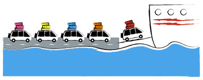 Ferry crossing. Illustration Royalty Free Stock Photography