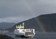 A ferry crossing the fjord Stock Images